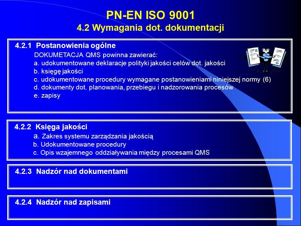 PN-EN ISO 9001 4.2 Wymagania dot. dokumentacji 4.2.1 Postanowienia ogólne DOKUMETACJA QMS powinna zawierać: a. udokumentowane deklaracje polityki jako