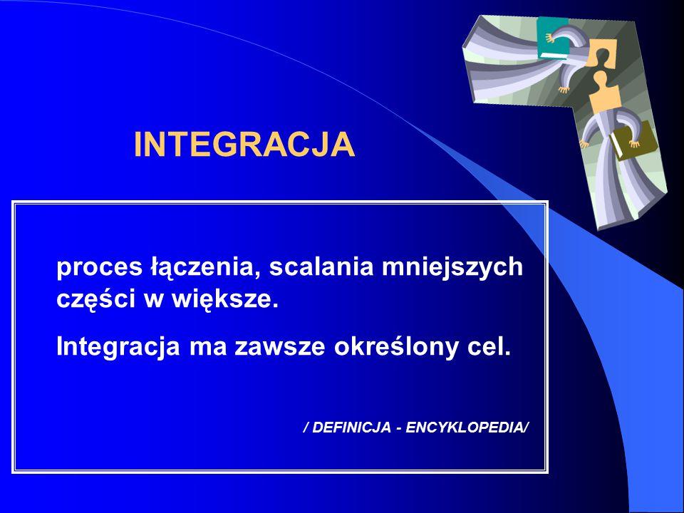 INTEGRACJA proces łączenia, scalania mniejszych części w większe. Integracja ma zawsze określony cel. / DEFINICJA - ENCYKLOPEDIA/