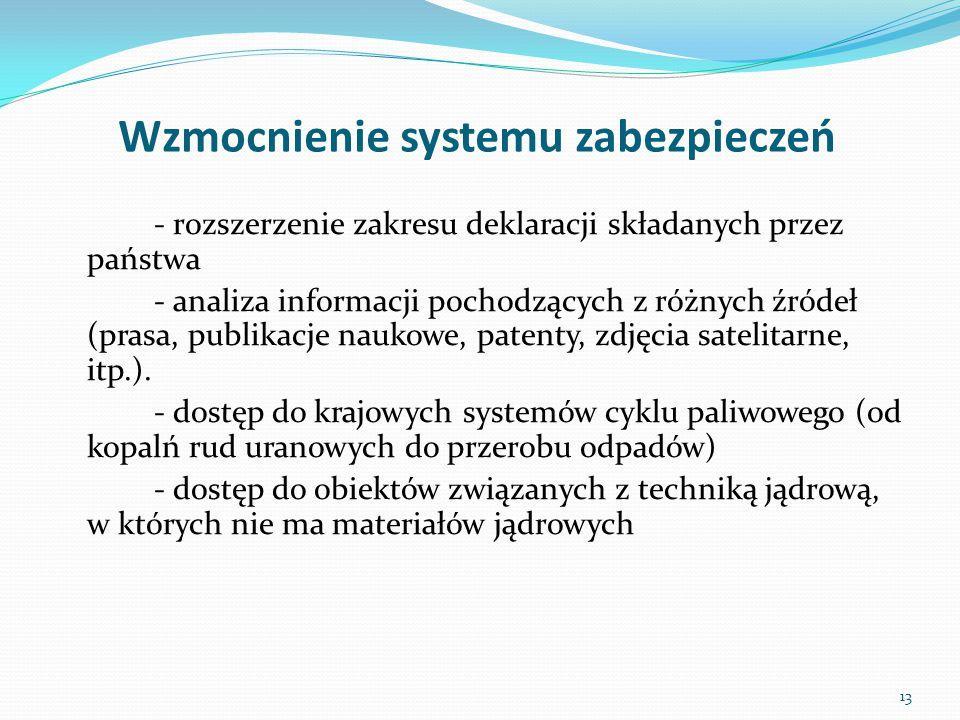 Wzmocnienie systemu zabezpieczeń - rozszerzenie zakresu deklaracji składanych przez państwa - analiza informacji pochodzących z różnych źródeł (prasa,