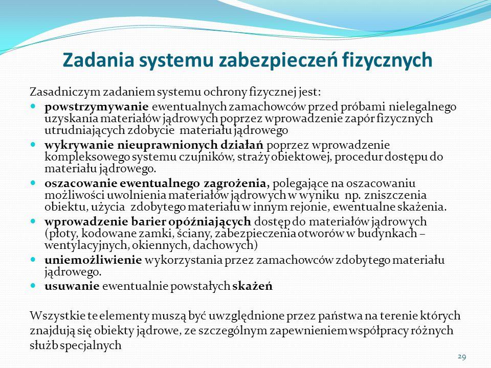 Zadania systemu zabezpieczeń fizycznych Zasadniczym zadaniem systemu ochrony fizycznej jest: powstrzymywanie ewentualnych zamachowców przed próbami ni
