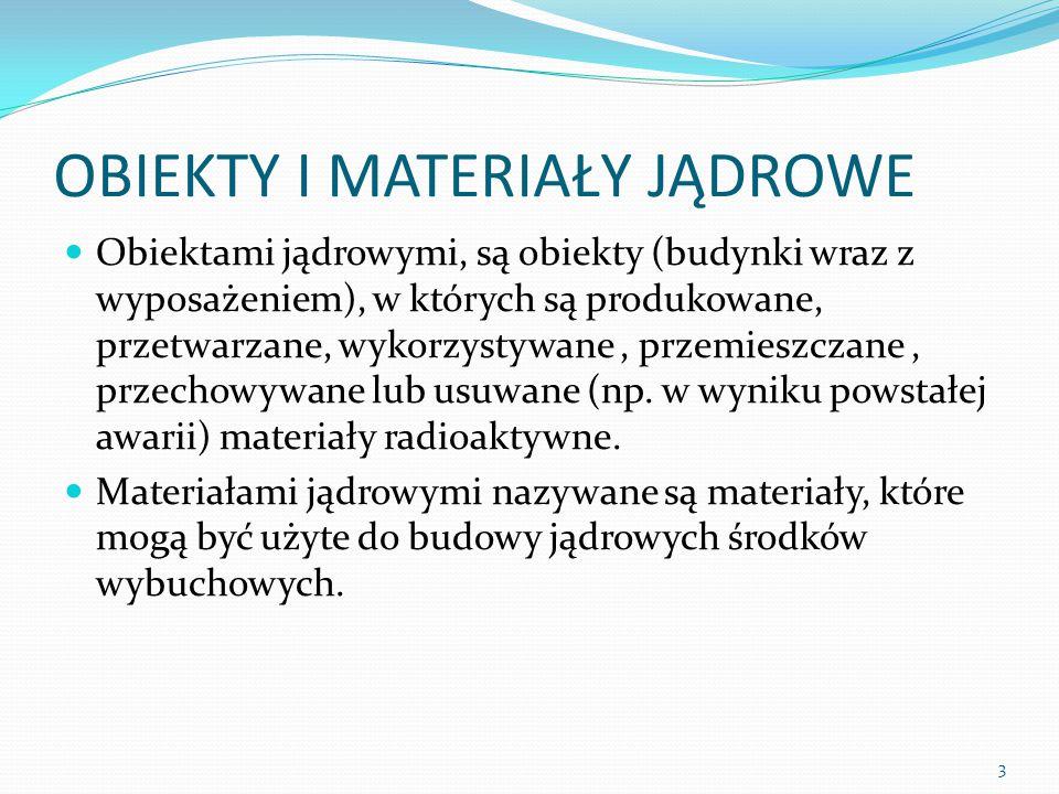 OBIEKTY I MATERIAŁY JĄDROWE Obiektami jądrowymi, są obiekty (budynki wraz z wyposażeniem), w których są produkowane, przetwarzane, wykorzystywane, prz