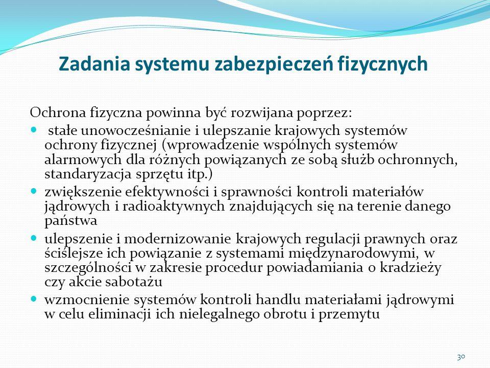 Zadania systemu zabezpieczeń fizycznych Ochrona fizyczna powinna być rozwijana poprzez: stałe unowocześnianie i ulepszanie krajowych systemów ochrony