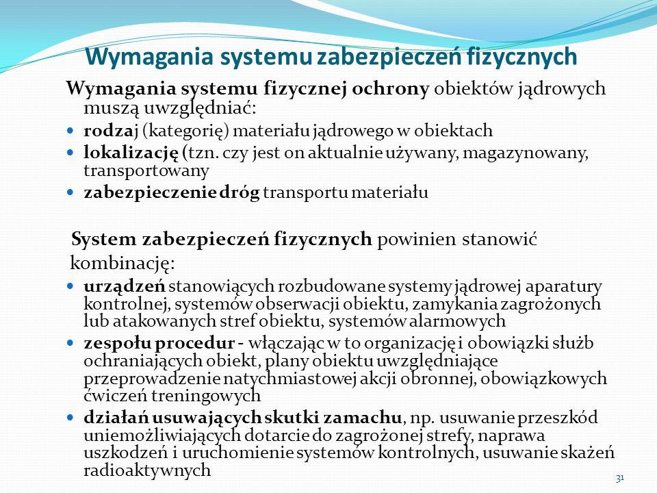 Wymagania systemu zabezpieczeń fizycznych Wymagania systemu fizycznej ochrony obiektów jądrowych muszą uwzględniać: rodzaj (kategorię) materiału jądro