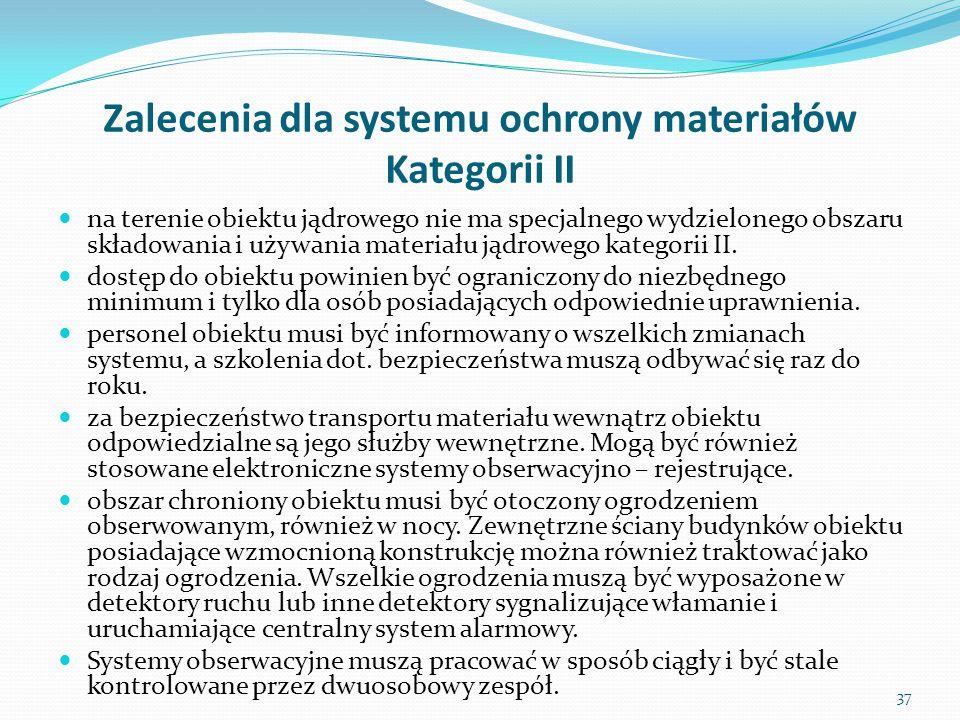 Zalecenia dla systemu ochrony materiałów Kategorii II na terenie obiektu jądrowego nie ma specjalnego wydzielonego obszaru składowania i używania mate