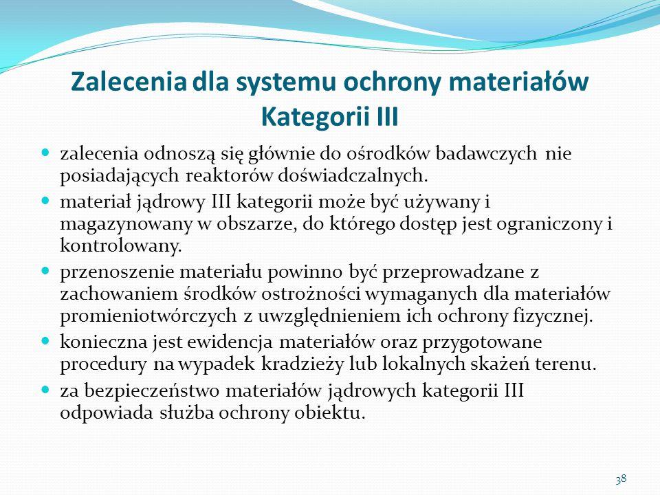 Zalecenia dla systemu ochrony materiałów Kategorii III zalecenia odnoszą się głównie do ośrodków badawczych nie posiadających reaktorów doświadczalnyc