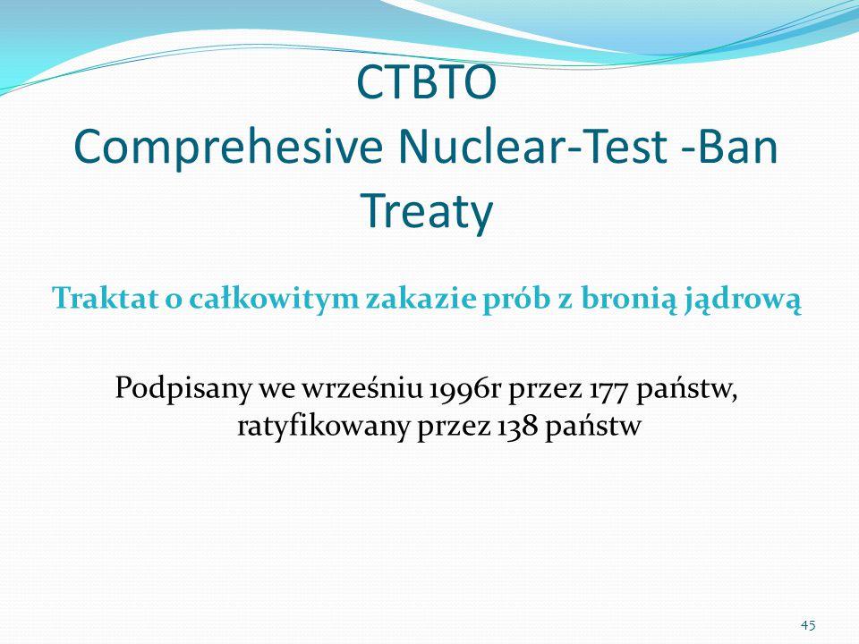 CTBTO Comprehesive Nuclear-Test -Ban Treaty Traktat o całkowitym zakazie prób z bronią jądrową Podpisany we wrześniu 1996r przez 177 państw, ratyfikow