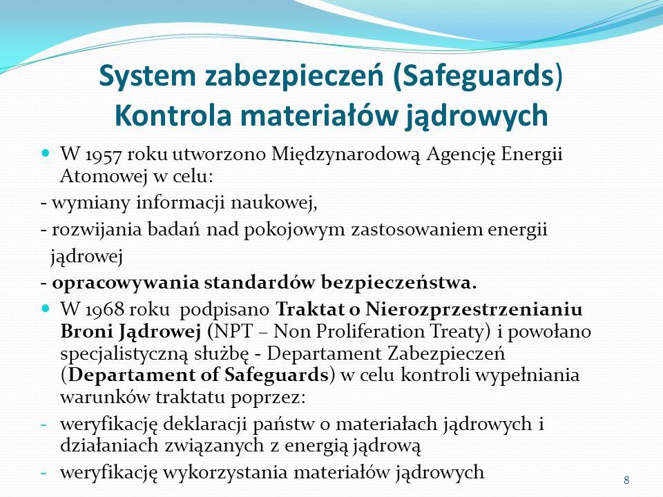 System zabezpieczeń (Safeguards) Kontrola materiałów jądrowych Państwa-sygnatariusze mogą zawierać z MAEA, w ramach NPT, jedną z trzech rodzajów umów: o zabezpieczeniach wszechstronnych, obejmującą pełną kontrolę materiałów rozszczepialnych w państwie, tak aby nie zostały one przesunięte z zastosowań pokojowych do wytwarzania broni jądrowej (MAEA INFCIRIC/153) o zabezpieczeniach ograniczonych, obejmującą kontrolą tylko materiały jądrowe lub działania wymienione w umowie (MAEAINFCIRC/66).