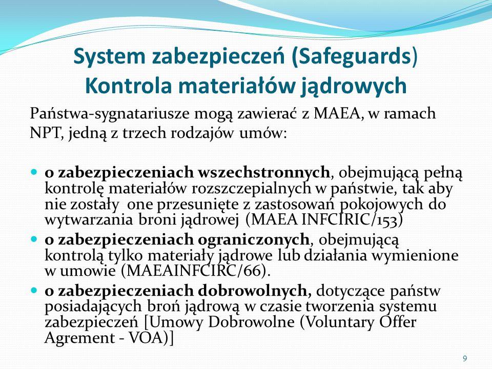 Zadania systemu zabezpieczeń fizycznych Ochrona fizyczna powinna być rozwijana poprzez: stałe unowocześnianie i ulepszanie krajowych systemów ochrony fizycznej (wprowadzenie wspólnych systemów alarmowych dla różnych powiązanych ze sobą służb ochronnych, standaryzacja sprzętu itp.) zwiększenie efektywności i sprawności kontroli materiałów jądrowych i radioaktywnych znajdujących się na terenie danego państwa ulepszenie i modernizowanie krajowych regulacji prawnych oraz ściślejsze ich powiązanie z systemami międzynarodowymi, w szczególności w zakresie procedur powiadamiania o kradzieży czy akcie sabotażu wzmocnienie systemów kontroli handlu materiałami jądrowymi w celu eliminacji ich nielegalnego obrotu i przemytu 30