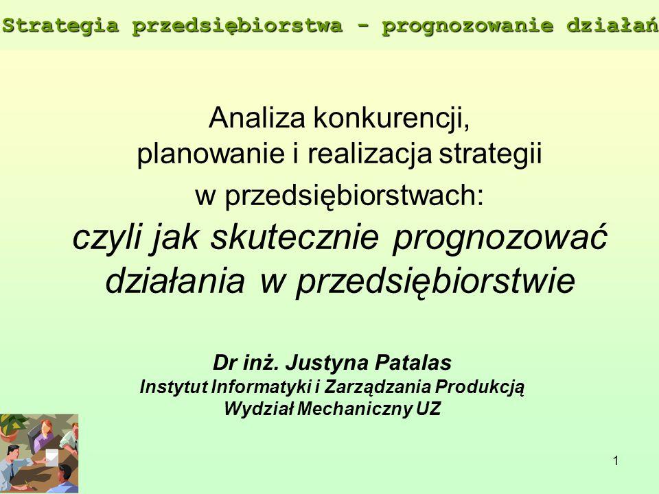 1 Analiza konkurencji, planowanie i realizacja strategii w przedsiębiorstwach: czyli jak skutecznie prognozować działania w przedsiębiorstwie Dr inż.