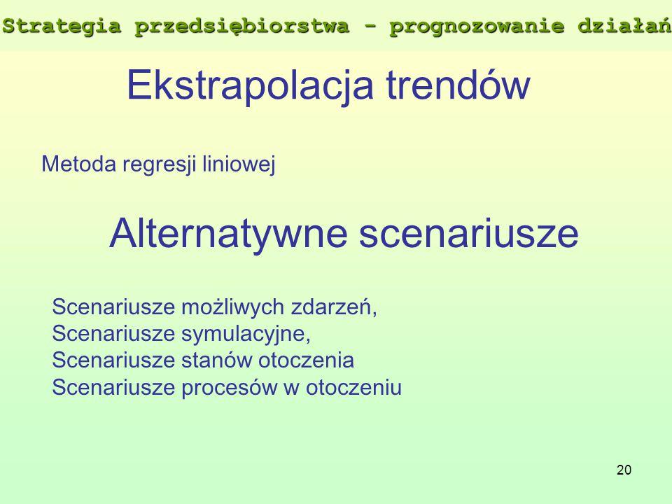 20 Ekstrapolacja trendów Metoda regresji liniowej Alternatywne scenariusze Scenariusze możliwych zdarzeń, Scenariusze symulacyjne, Scenariusze stanów