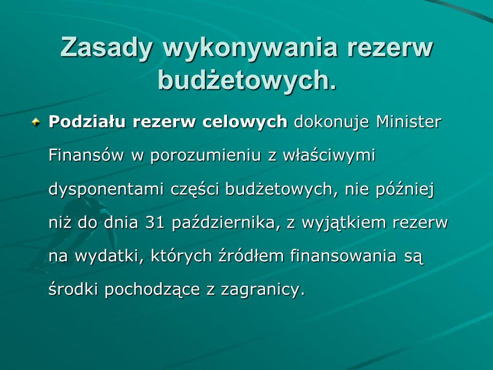 Zasady wykonywania rezerw budżetowych. Podziału rezerw celowych dokonuje Minister Finansów w porozumieniu z właściwymi dysponentami części budżetowych