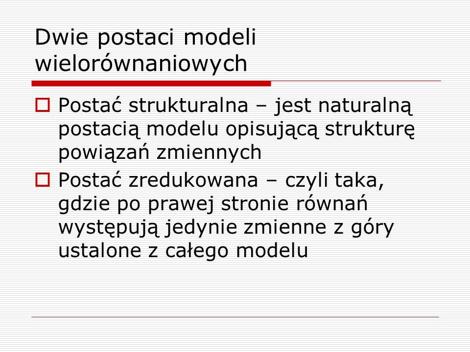 Dwie postaci modeli wielorównaniowych  Postać strukturalna – jest naturalną postacią modelu opisującą strukturę powiązań zmiennych  Postać zredukowa