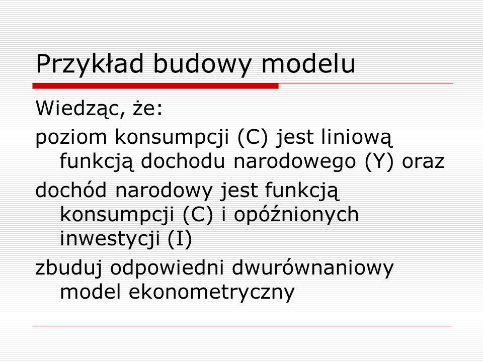 Zapis macierzowy modelu  Postać strukturalna: BY+Z=  Postać zredukowana: Y=Z+v Gdzie: Y – wektor nieopóźnionych zm.