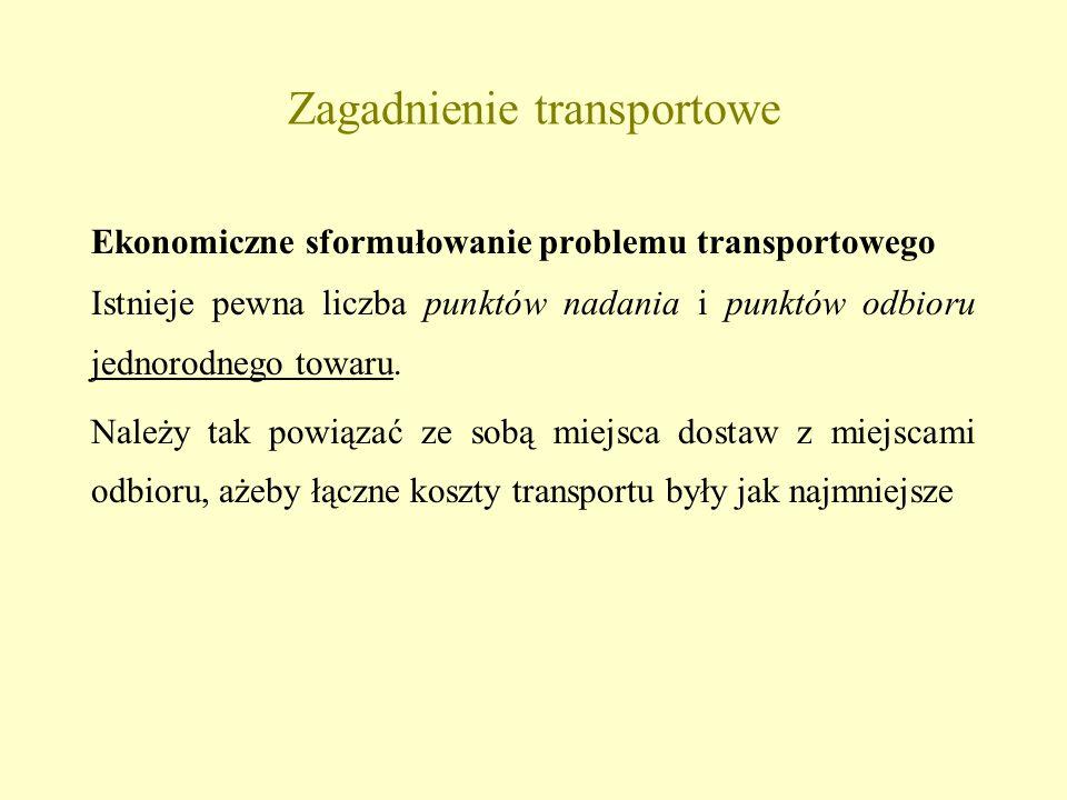 Zagadnienie transportowe Ekonomiczne sformułowanie problemu transportowego Istnieje pewna liczba punktów nadania i punktów odbioru jednorodnego towaru.