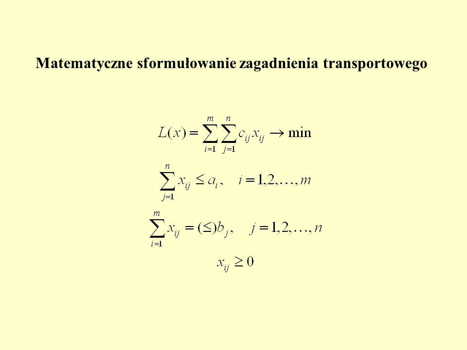 Matematyczne sformułowanie zagadnienia transportowego