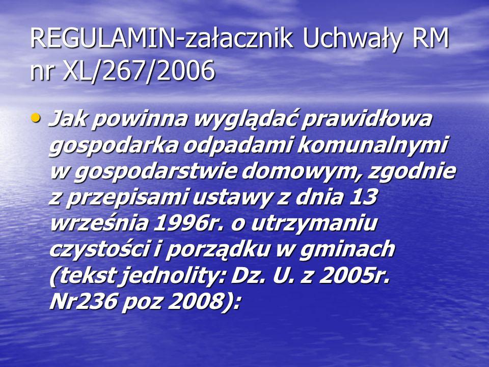 REGULAMIN-załacznik Uchwały RM nr XL/267/2006 Jak powinna wyglądać prawidłowa gospodarka odpadami komunalnymi w gospodarstwie domowym, zgodnie z przep