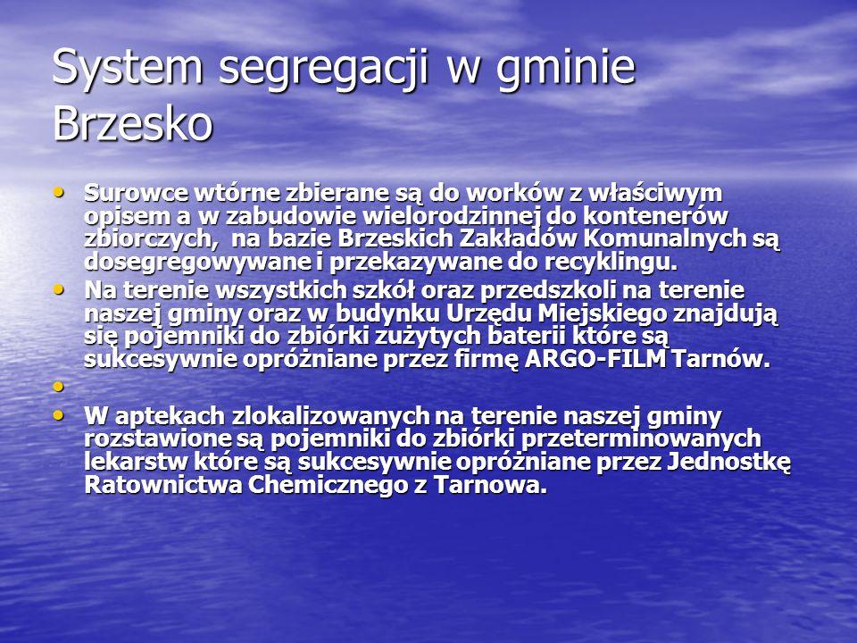 System segregacji w gminie Brzesko Surowce wtórne zbierane są do worków z właściwym opisem a w zabudowie wielorodzinnej do kontenerów zbiorczych, na b