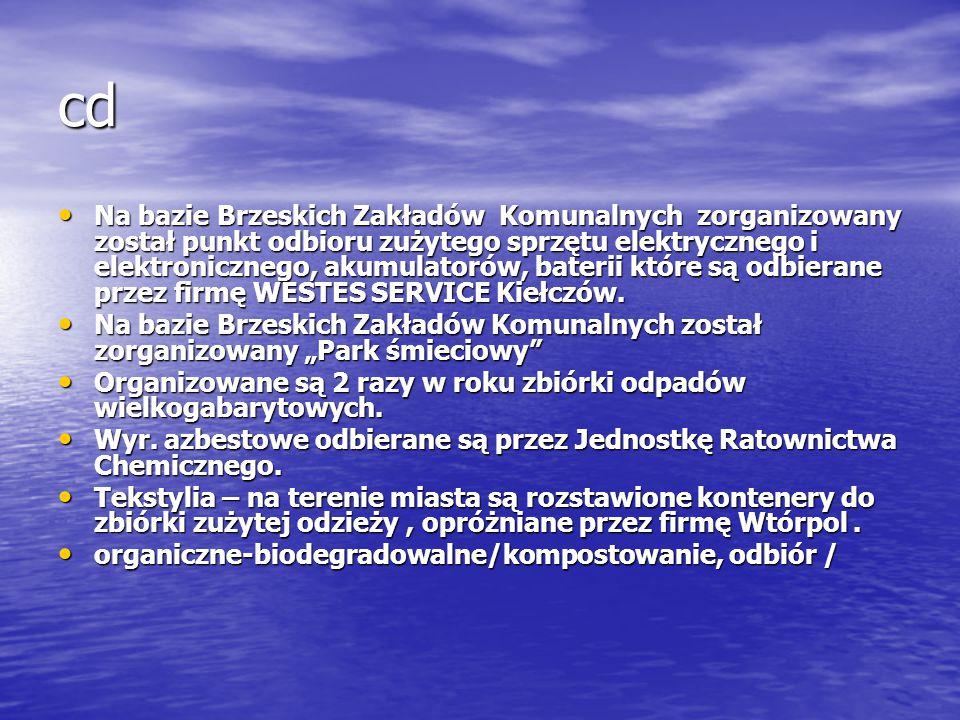 cd Na bazie Brzeskich Zakładów Komunalnych zorganizowany został punkt odbioru zużytego sprzętu elektrycznego i elektronicznego, akumulatorów, baterii