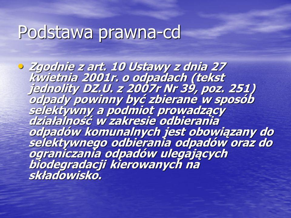 Podstawa prawna-cd Zgodnie z art. 10 Ustawy z dnia 27 kwietnia 2001r. o odpadach (tekst jednolity DZ.U. z 2007r Nr 39, poz. 251) odpady powinny być zb