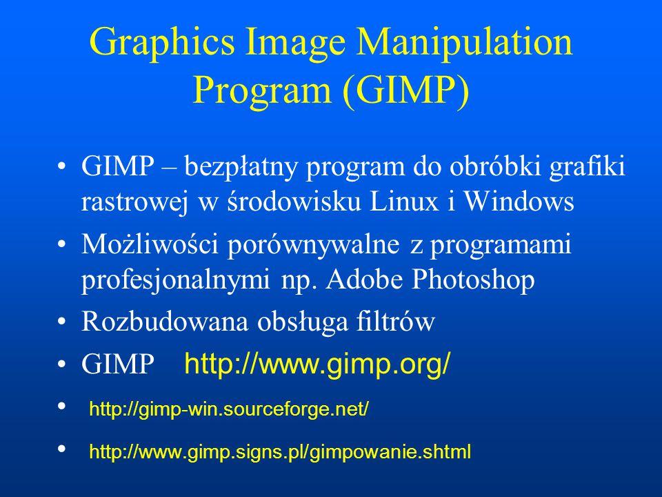 Virtual Reality Modelling Language (VRML) VRML – język do kreowania trójwymiarowych przestrzeni wirtualnych, analogiczny do HTML Obsługa w przeglądarkach za pomocą wtyczek np.Cortona http://www.parallelgraphics.com/products/cortona/download/ Standardy: VRML 1.0, VRML 2.0, VRML 97, X3D Web3D consortium http://www.web3d.org/ Art of Illusion http://www.artofillusion.org/