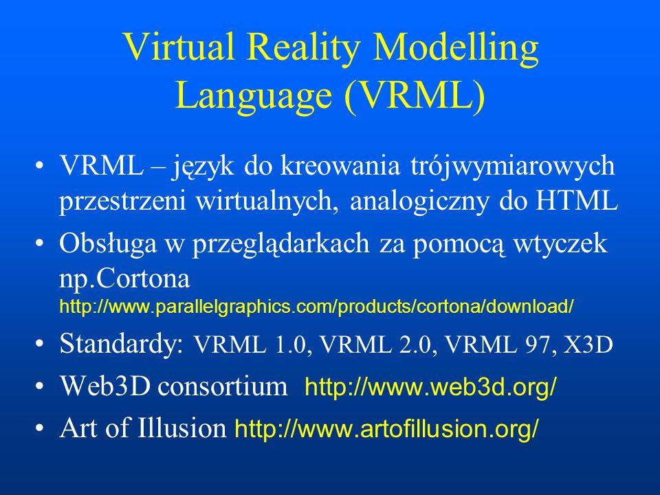 Scalable Vector Graphics SVG – Skalowalna grafika wektorowa dla WWW Odtwarzanie realizowane obecnie za pomocą wtyczek (plug-in) rozszerzających do przeglądarek WWW Adobe SVG Viewer 3.0 http://www.adobe.com/ –wersja 6.0: http://www.adobe.com/svg/viewer/install/beta.html Wikipedia http://pl.wikipedia.org/wiki/SVG SVG Zone http://www.adobe.com/svg XML.com http://www.xml.com/pub/a/2001/03/21/svg.html W3C SVG http://www.w3.org/Graphics/SVG/ Wikipedia http://pl.wikipedia.org/wiki/SVG Edytor Inkscape http://www.inkscape.org/