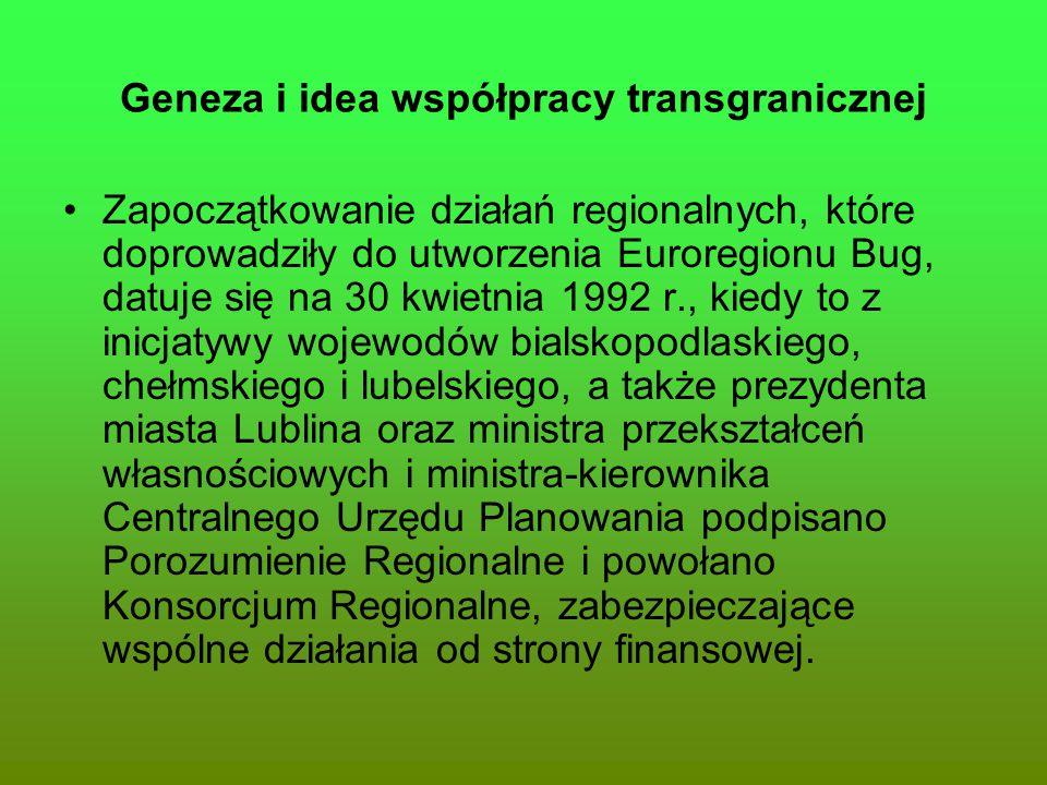 Geneza i idea współpracy transgranicznej Zapoczątkowanie działań regionalnych, które doprowadziły do utworzenia Euroregionu Bug, datuje się na 30 kwie