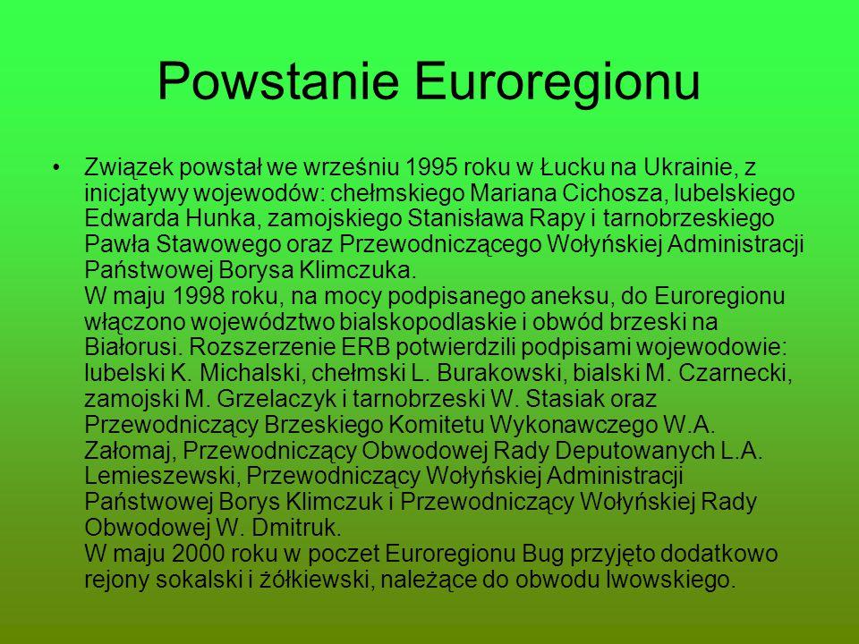 Powstanie Euroregionu Związek powstał we wrześniu 1995 roku w Łucku na Ukrainie, z inicjatywy wojewodów: chełmskiego Mariana Cichosza, lubelskiego Edw