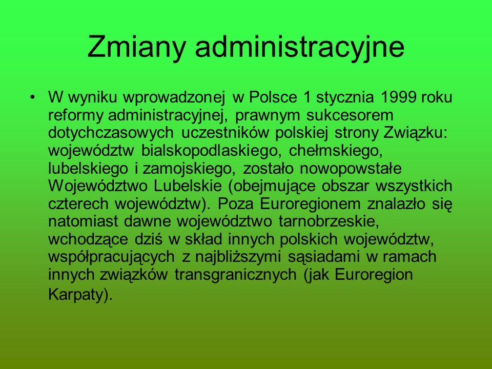 Zmiany administracyjne W wyniku wprowadzonej w Polsce 1 stycznia 1999 roku reformy administracyjnej, prawnym sukcesorem dotychczasowych uczestników po