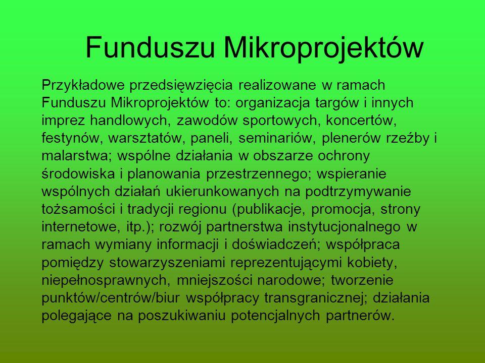 Funduszu Mikroprojektów Przykładowe przedsięwzięcia realizowane w ramach Funduszu Mikroprojektów to: organizacja targów i innych imprez handlowych, za