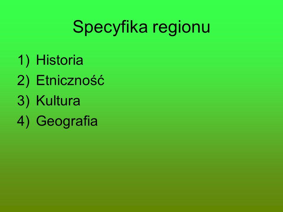 Specyfika regionu 1)Historia 2)Etniczność 3)Kultura 4)Geografia
