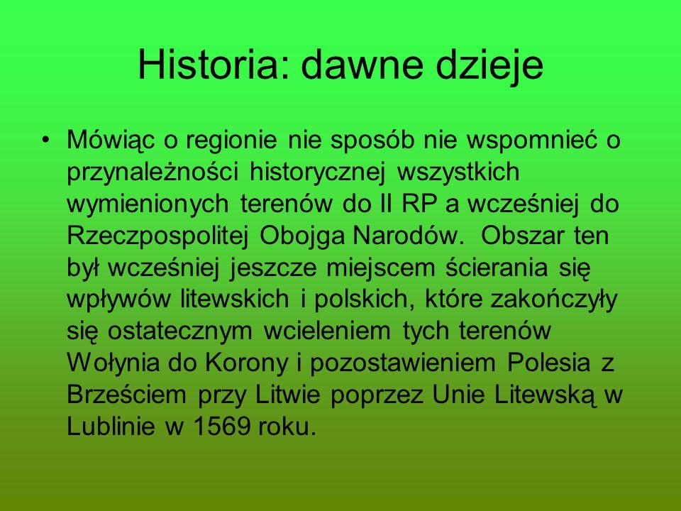 Historia: dawne dzieje Mówiąc o regionie nie sposób nie wspomnieć o przynależności historycznej wszystkich wymienionych terenów do II RP a wcześniej d