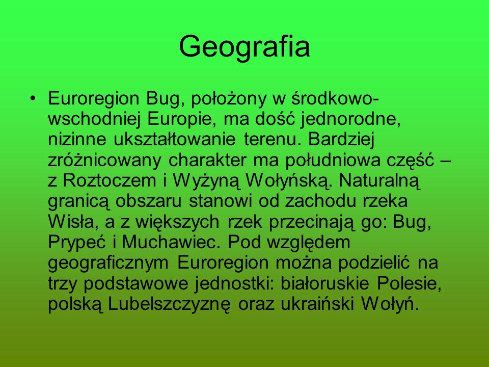 Geografia Euroregion Bug, położony w środkowo- wschodniej Europie, ma dość jednorodne, nizinne ukształtowanie terenu. Bardziej zróżnicowany charakter