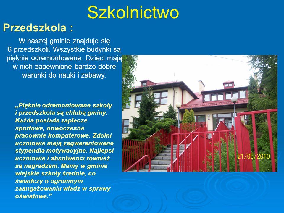 Szkolnictwo Przedszkola : W naszej gminie znajduje się 6 przedszkoli.