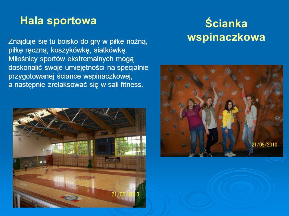 Hala sportowa Znajduje się tu boisko do gry w piłkę nożną, piłkę ręczną, koszykówkę, siatkówkę.
