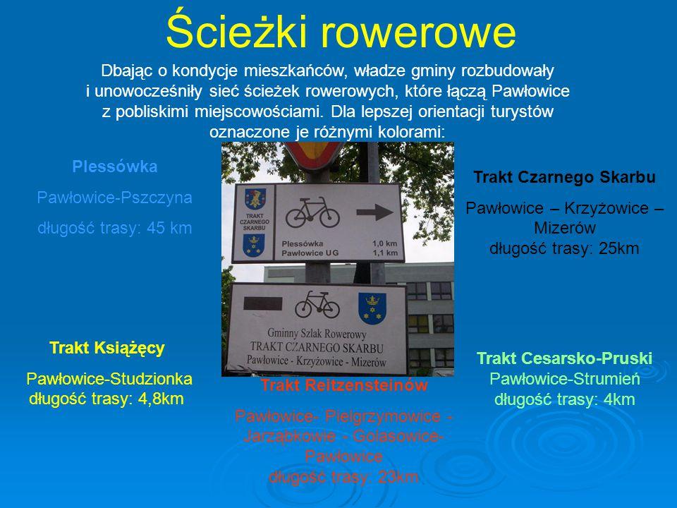 Ścieżki rowerowe Trakt Cesarsko-Pruski Pawłowice-Strumień długość trasy: 4km Trakt Reitzensteinów Pawłowice- Pielgrzymowice - Jarząbkowie - Golasowice- Pawłowice długość trasy: 23km Trakt Czarnego Skarbu Pawłowice – Krzyżowice – Mizerów długość trasy: 25km Trakt Książęcy Pawłowice-Studzionka długość trasy: 4,8km Plessówka Pawłowice-Pszczyna długość trasy: 45 km Dbając o kondycje mieszkańców, władze gminy rozbudowały i unowocześniły sieć ścieżek rowerowych, które łączą Pawłowice z pobliskimi miejscowościami.
