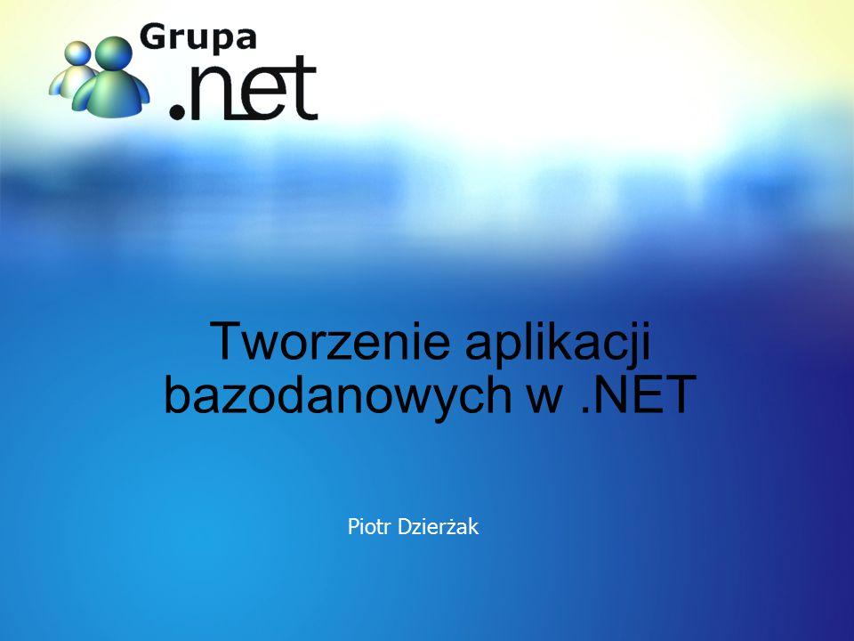 Otrzymywanie informacji używając DataSet 1 SqlConnection myCn = new SqlConnection(cnStr); 2 SqlDataAdapter myDA = new SqlDataAdapter( Select * from Customers , myCn); try { 3 DataSet myDataSet = new DataSet(); 4 myDA.Fill(myDataSet, myCustomers ); 5 foreach (DataRow myDataRow in myDataSet.Tables[ myCustomers ].Rows) { 6Console.WriteLine(myDataRow[ CustomerId ].ToString() + + myDataRow[ CompanyName ].ToString()); } catch (Exception e) { 7Console.WriteLine(e.Message.ToString()); }