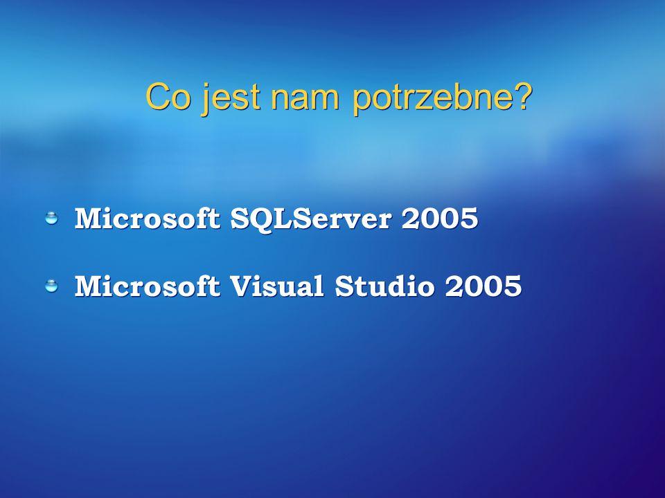 Co jest nam potrzebne? Microsoft SQLServer 2005 Microsoft Visual Studio 2005