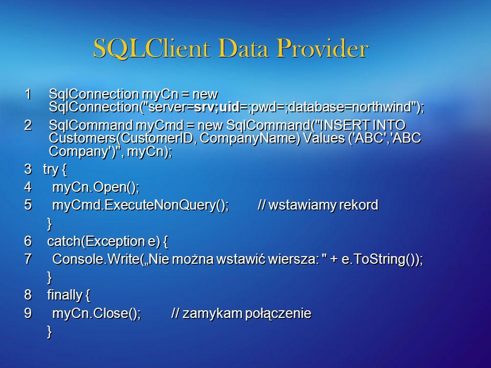 U ż ycie SqlDataReader SqlConnection SqlCommand ExecuteReader() SqlDataReader 1 2 SQL Database Dzięki użyciu SqlDataReader w szybki sposób możemy czytać informacje z bazy danych.