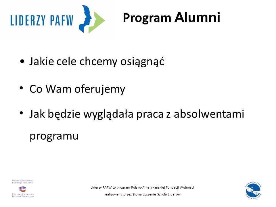 Program Alumni Jakie cele chcemy osiągnąć Co Wam oferujemy Jak będzie wyglądała praca z absolwentami programu Liderzy PAFW to program Polsko-Amerykańs