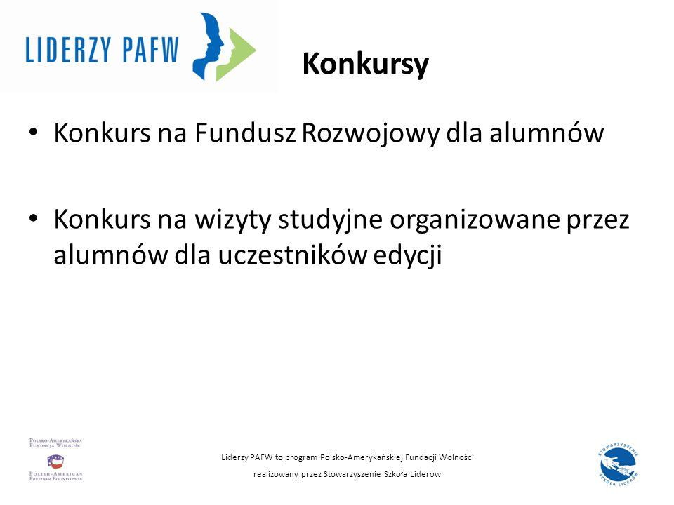Konkursy Konkurs na Fundusz Rozwojowy dla alumnów Konkurs na wizyty studyjne organizowane przez alumnów dla uczestników edycji Liderzy PAFW to program