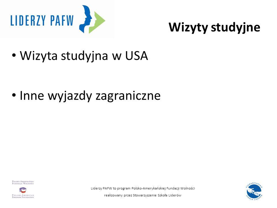 Wizyty studyjne Wizyta studyjna w USA Inne wyjazdy zagraniczne Liderzy PAFW to program Polsko-Amerykańskiej Fundacji Wolności realizowany przez Stowar