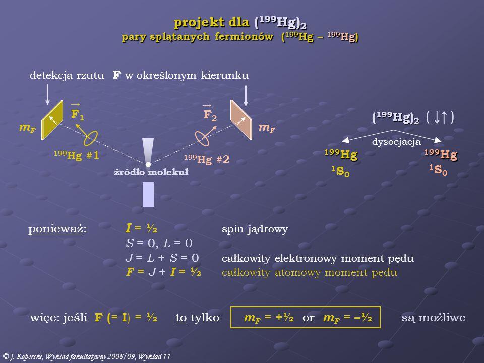ponieważ: I = ½ spin jądrowy S = 0, L = 0 J = L + S = 0 całkowity elektronowy moment pędu F = J + I = ½ całkowity atomowy moment pędu 1S01S0 więc: jeśli F ( = I ) = ½ to tylko m F = +½ or m F = –½ są możliwe projekt dla ( 199 Hg) 2 pary splątanych fermionów ( 199 Hg – 199 Hg) ( 199 Hg) 2 199 Hg dysocjacja detekcja rzutu F w określonym kierunku 1S01S0 ( ↓↑ ) źródło molekuł 199 Hg #1 F1F1 → 199 Hg #2 F2F2 → mFmF mFmF © J.