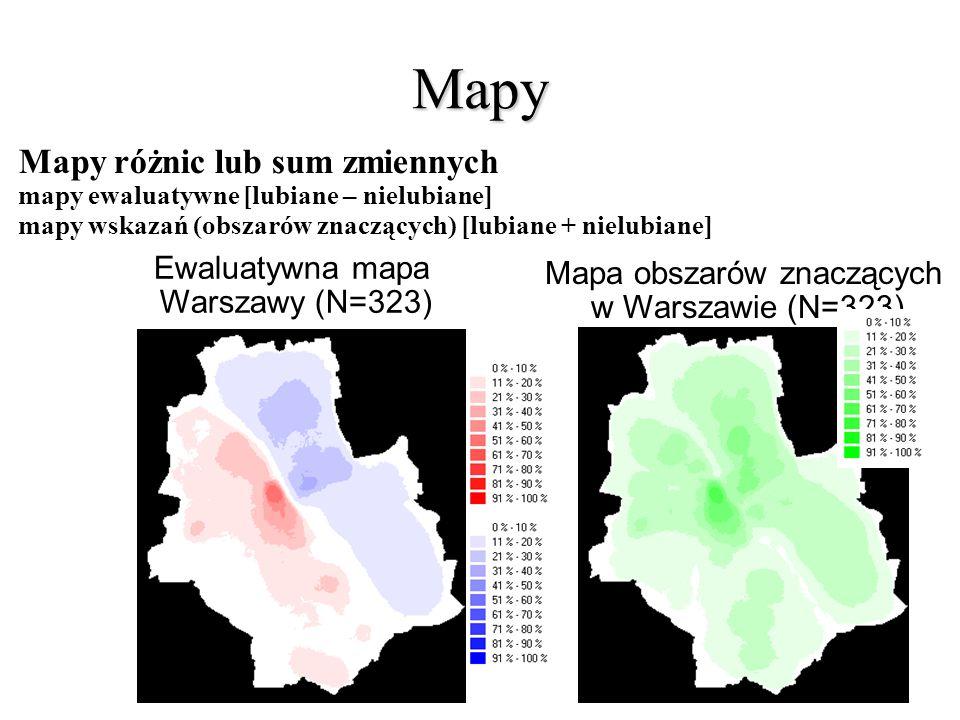Mapy Mapy różnic lub sum zmiennych mapy ewaluatywne [lubiane – nielubiane] mapy wskazań (obszarów znaczących) [lubiane + nielubiane] Ewaluatywna mapa Warszawy (N=323) Mapa obszarów znaczących w Warszawie (N=323)