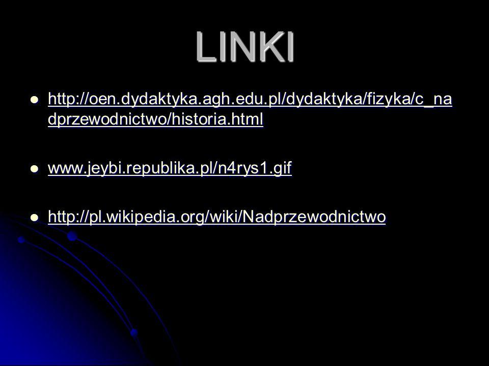 LINKI http://oen.dydaktyka.agh.edu.pl/dydaktyka/fizyka/c_na dprzewodnictwo/historia.html http://oen.dydaktyka.agh.edu.pl/dydaktyka/fizyka/c_na dprzewodnictwo/historia.html http://oen.dydaktyka.agh.edu.pl/dydaktyka/fizyka/c_na dprzewodnictwo/historia.html http://oen.dydaktyka.agh.edu.pl/dydaktyka/fizyka/c_na dprzewodnictwo/historia.html www.jeybi.republika.pl/n4rys1.gif www.jeybi.republika.pl/n4rys1.gif www.jeybi.republika.pl/n4rys1.gif http://pl.wikipedia.org/wiki/Nadprzewodnictwo http://pl.wikipedia.org/wiki/Nadprzewodnictwo http://pl.wikipedia.org/wiki/Nadprzewodnictwo
