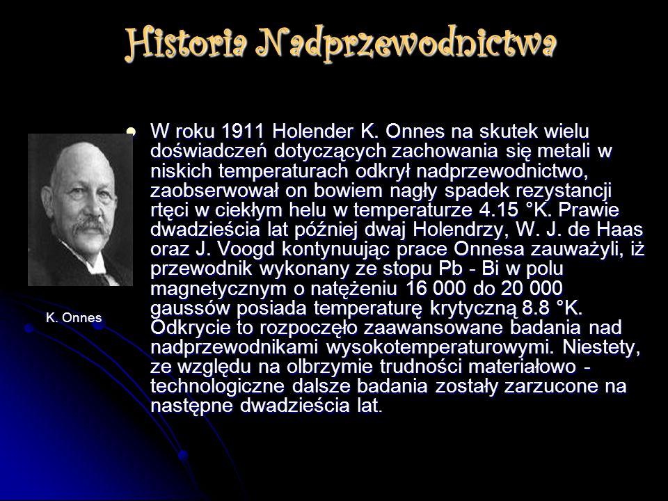 Historia Nadprzewodnictwa W roku 1911 Holender K. Onnes na skutek wielu doświadczeń dotyczących zachowania się metali w niskich temperaturach odkrył n