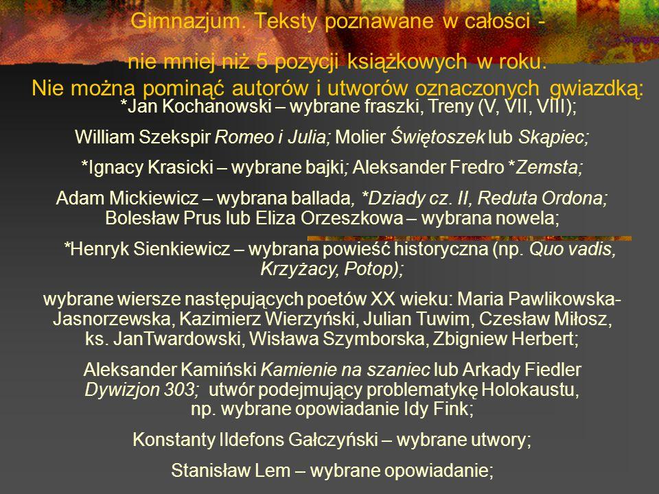 Gimnazjum. Teksty poznawane w całości - nie mniej niż 5 pozycji książkowych w roku. Nie można pominąć autorów i utworów oznaczonych gwiazdką: *Jan Koc