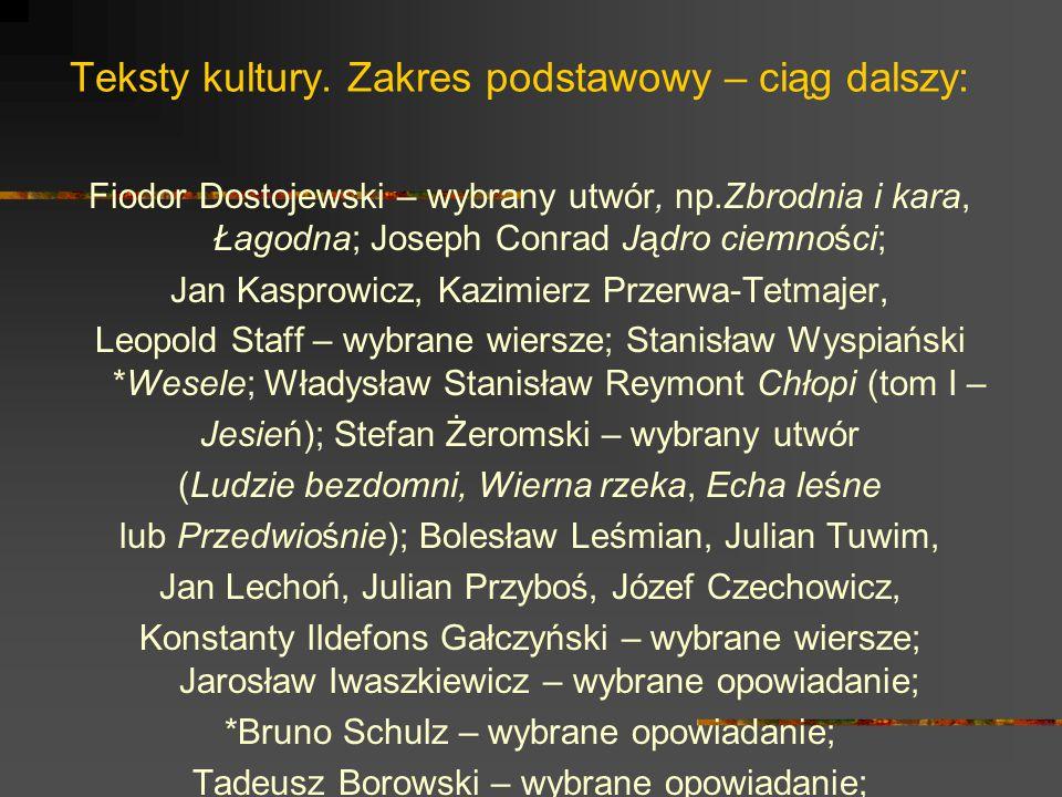 Teksty kultury. Zakres podstawowy – ciąg dalszy: Fiodor Dostojewski – wybrany utwór, np.Zbrodnia i kara, Łagodna; Joseph Conrad Jądro ciemności; Jan K