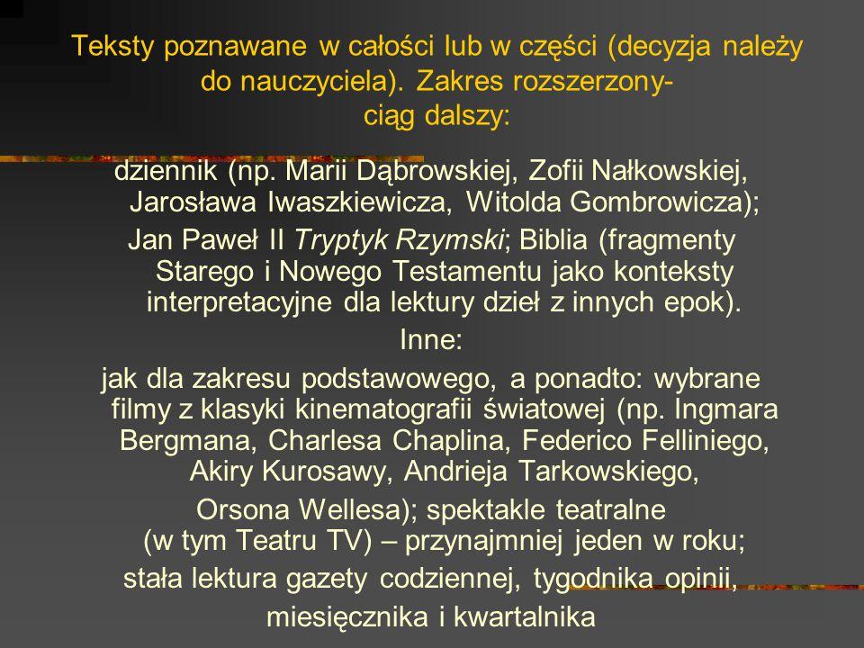 Teksty poznawane w całości lub w części (decyzja należy do nauczyciela). Zakres rozszerzony- ciąg dalszy: dziennik (np. Marii Dąbrowskiej, Zofii Nałko