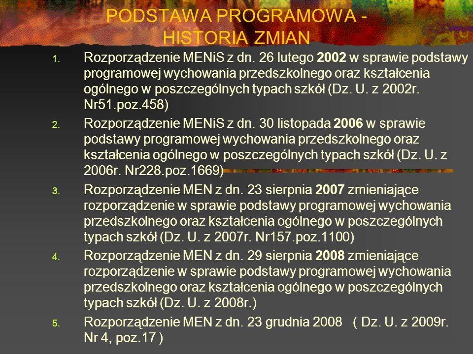 PODSTAWA PROGRAMOWA - HISTORIA ZMIAN 1. Rozporządzenie MENiS z dn. 26 lutego 2002 w sprawie podstawy programowej wychowania przedszkolnego oraz kształ