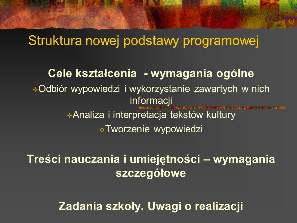 Struktura nowej podstawy programowej Cele kształcenia - wymagania ogólne  Odbiór wypowiedzi i wykorzystanie zawartych w nich informacji  Analiza i i